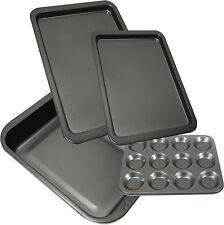 Set Of 4 Large Non Stick Tray Oven Baking Roasting Bun Sheet Dish Tin Trays