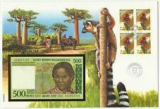 MADAGASCAR LEMURIENS LEMURS FLORE BAOBABS TREES ORCHIDEES ORCHIDS 500 FRANC 1996