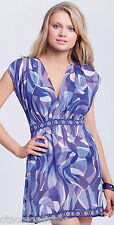 Profile by Gottex Twiggy Cover-Up V-Neck Sheer Tunic Dress Indigo NWT Sz Small