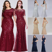 Ever-Pretty Plus Size Long Sequins Gowns Mermaid Pageant Formal Evening Dresses