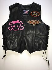 SU121- Women's Allstate Black Leather Motorcycle Vest W/5 Patches  Size 2XL