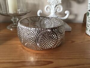 Silver Metal Round Bowl Cut Out Design Home Decor