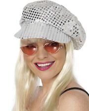 9c36708eb04 Womens 70s Disco Silver Sequin Hat Smiffys Fancy Dress Costume