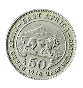 East Africa 1948 50 Cents GEF /AUNC COIN George VI