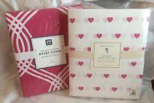 $139 Pottery Barn Twin Heart Organic Sheet Set + Duvet pink Girl Love valentine