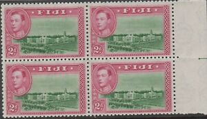 Stamps 1946 Fiji 2d green magenta KGV1 SG255a right marginal block 4 guide line