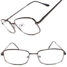 Rectangle Vintage Mens Womens Clear Lens Nerd Geek Glasses Eyewear Gunmetal