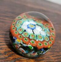 Millefiori Art Glass Paperweight Multicolor Murano Italian Made in Italy Stamped