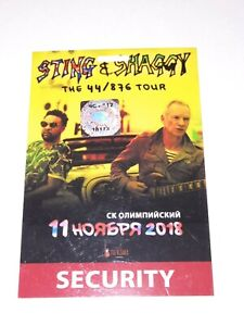 sting shaggy laminate pass security moscow tour The 44/876 Tour NOV 11 2018