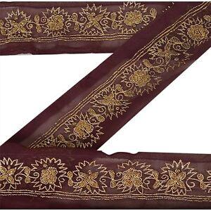 Sanskriti Vintage Sari Border Craft Brown Trim Hand Embroidered Sewing Lace