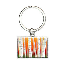 Birch Trees in Autumn Rectangle Keychain Key Ring