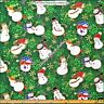 "FABRI-QUILT ""SEASONS GREETING"" GUILDED SNOWMAN CHRISTMAS COTTON FABRIC 1/2 YD"
