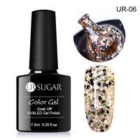 7.5ml Holographic Glitter Nail Soak Off UV Gel Polish Sequins Varnish Gold UR-06