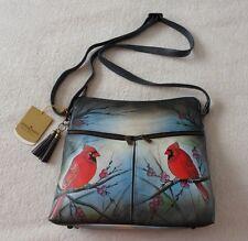 Womens Anuschka Leather Hand Painted Cross Body Bag Tote Hobo Satchel Handbag