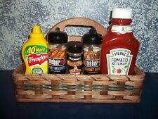 Amish Handcrafted Country Rustic Condiment Carrier Basket