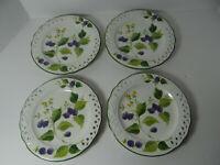 "Brunelli Fruit Floral Set of 4 Dessert Salad Plates Italy 8 1/8"" Pierced"