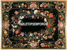 4'x3' Marble Black Dining Table Top Inlay Outdoor Mosaic Living Room Decor
