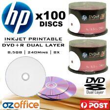 PREMIUM 100 x HP DVD+R DL 8.5GB DVD Dual Layer 8X Blank DVD DL Printable