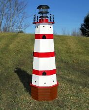 "36"" Solar lighthouse wood decorative lawn and garden ornament - red stripes"