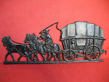 Eisenkunstguß - Platte Planwagen Kutsche Pferde Reiter um 1920 Hüttenwerke
