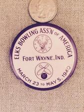 Vintage Elks Bowling Pin Fort Wayne Indiana 1940