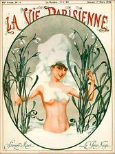 1928 La Vie Parisienne Sourire de Mars Nude Girl France French Travel Poster
