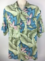 Bermuda Bay Men's M Hawaiian Camp Shirt Button Up Short Sleeve Floral Blue Green