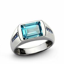 925 Sterling Silver Natural Gem Stone Blue Topaz & Sapphire Men's Ring Jewelry