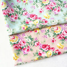 Rose Floral Flower Fabric Shabby Chic Vintage Patchwork Craft Cotton Like Sewing