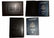 3 New USA Leather passport case wallet credit ATM card case ID holder Brand New