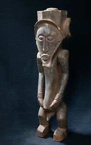 Bembe Male Ancestor Status Statue, D.R. Congo, Zambia, African Tribal Sculpture