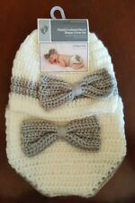 New! Baby Girl Grey Bow Hand Crocheted Hat & Diaper Cover Set