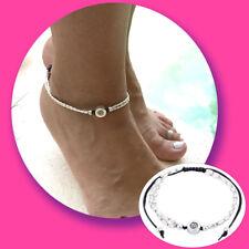 Nr.FK8 Fußkettchen Fußkette silber schwarz Perlen Yoga Anhänger Kette für Fuß