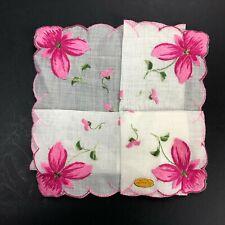NOS VTG Embroidered Switzerland Handkerchief Hanky Hankie PINK Flower Scallop