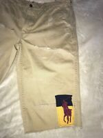 Polo Ralph Lauren Distressed Khaki shorts size 36 Preowned Men's With Patches.