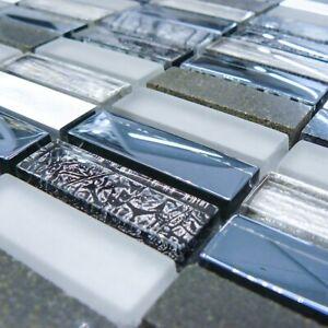 Italian Dark Blue Glass & Stone Mosaic Tiles Sheet For Wall Floor Bathroom
