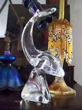 "Modernist Art Glass Shark Fish Signed Kristaluxus Crystal John Riekes Design 10"""