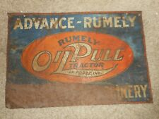 VERY RARE Vintage RUMELY OILPULL FARM TRACTOR MACHINERY Metal Advertising SIGN