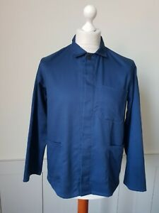 """VINTAGE Worker CHORE Blue Work Shirt Jacket Hobo Worn Faded SIZE 36""""/Small*TS27*"""