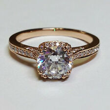 1.44ct Diamond 14K Solid Rose Gold Solitaire W/Accents Engagement Jewelry Ring