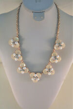 Charter Club rose gold tone pale pink rhinestone flower cluster necklace