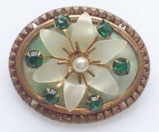 Pins & Brooches Belle Broche Ancien Bijou Vintage Couleur Or Guitare En Relief Nacre émail 2962