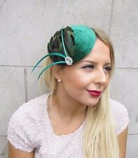 Green Feather Fascinator Hair Clip 1940s Hat Races Cocktail Headpiece Vtg 2594