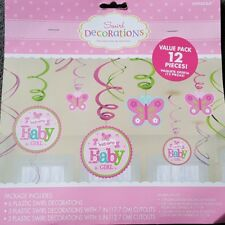 BABY GIRL WELCOME HANGING SWIRLS DECORATION SWIRL / BANNER (12 PIECES)