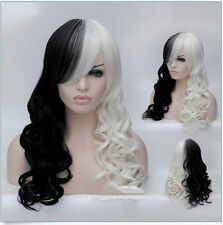 Women Cruella Deville Cosplay Wig Black White Synthetic Long Curly Wigs Full Wig