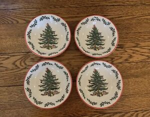 """NWT Spode Christmas Tree """"Holly"""" Red Trim Cereal Bowl (Set of 4) Hard to Find"""