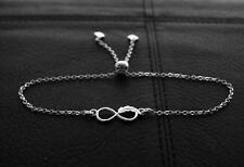925 Sterling silver Charm Infinity feather Symbol Bracelet  Adjustable Length