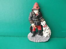 "old 1990's Resin Fireman w/Dalmation 2.75""in Tall has a few paint chips"