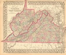 1874 ANTIQUE MAP - USA - VIRGINIA AND WEST VIRGINIA