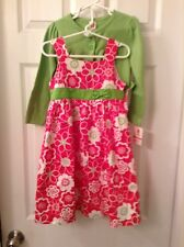 Carter`s Pink and Green Floral Dress with Green Crop Sweater Girl Sz 4/4t NWT